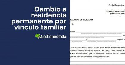 Solicitud de cambio a residencia permanente por vínculo familiar