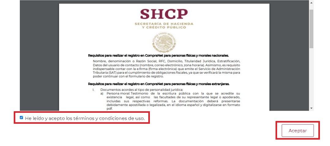 Registro de personas físicas o morales en CompraNET 2