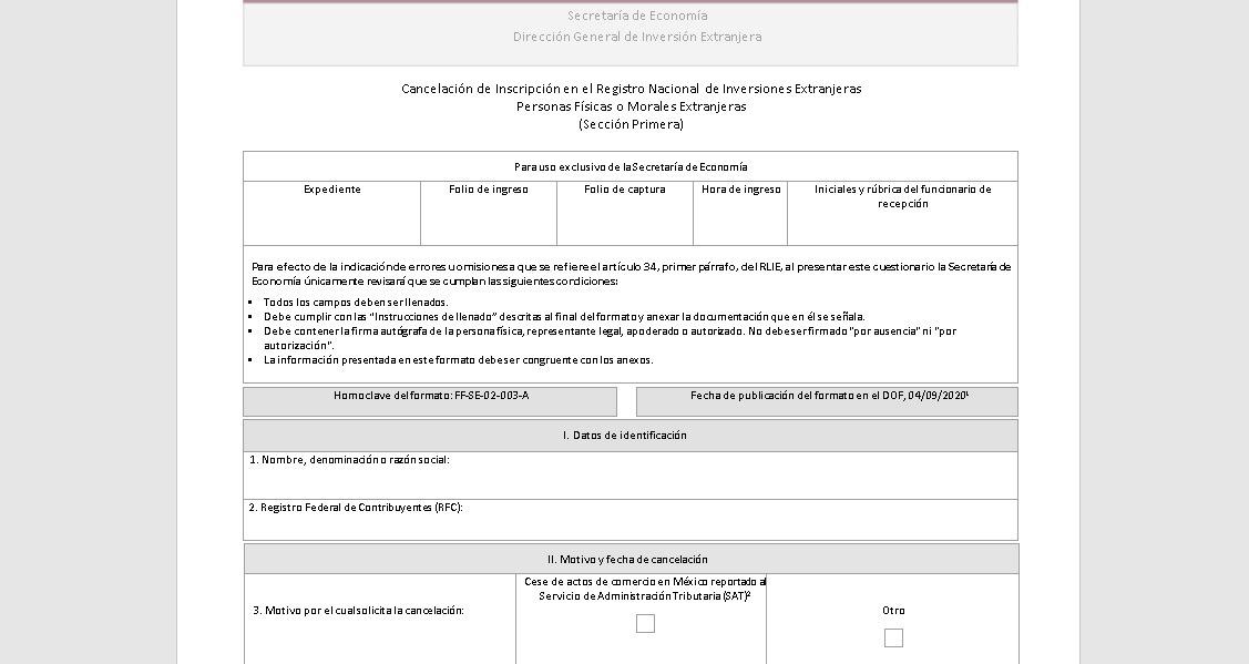 Cómo cancelar la inscripción en el RNIE (Personas físicas, morales o extranjeras) 2