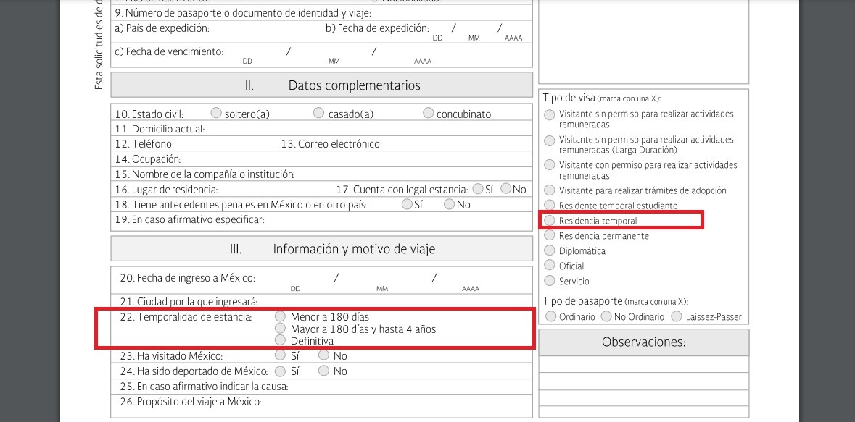 Requisitos para solicitar la Visa de residencia temporal 2